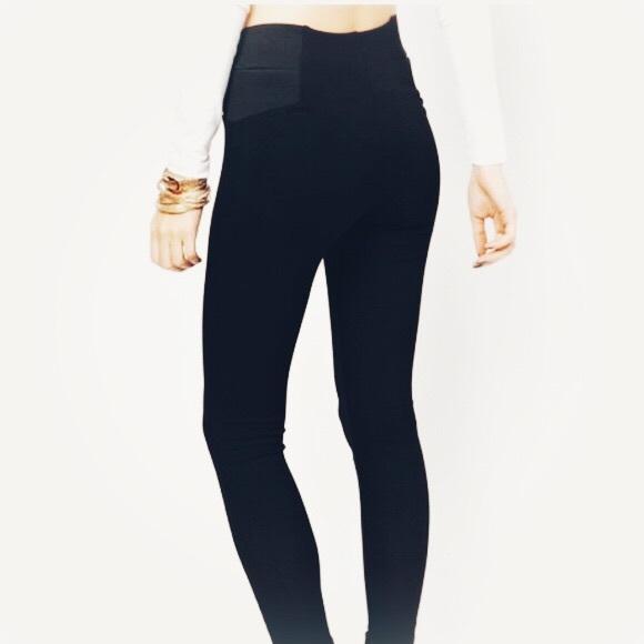 online retailer new lifestyle retro Zara Navy Blue High Waisted Stretch Leggings